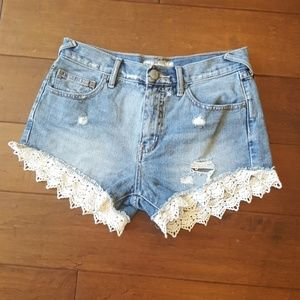 Free People Distressed Jean Shorts W/Lace